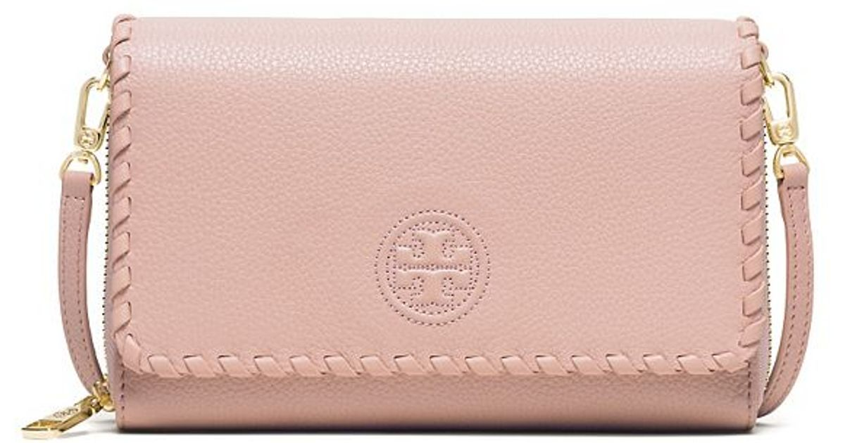 7d5b67a7049 Lyst - Tory Burch Marion Flat Wallet Cross-body in Pink