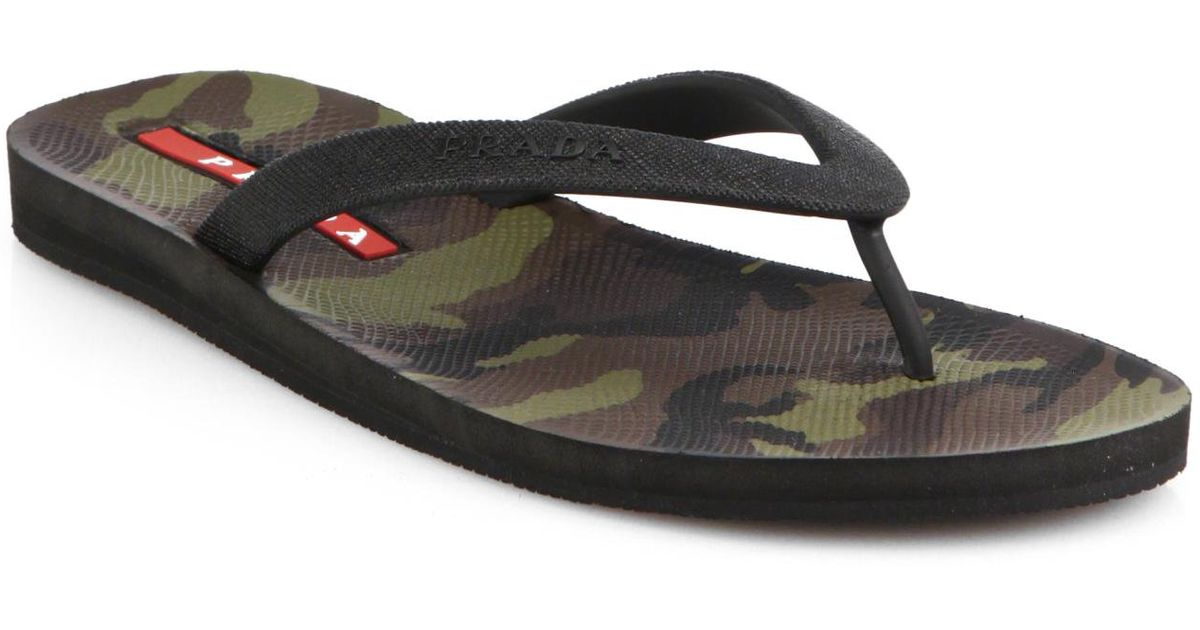 febfbbc0daa73c Lyst - Prada Camo Flip Flops in Green for Men