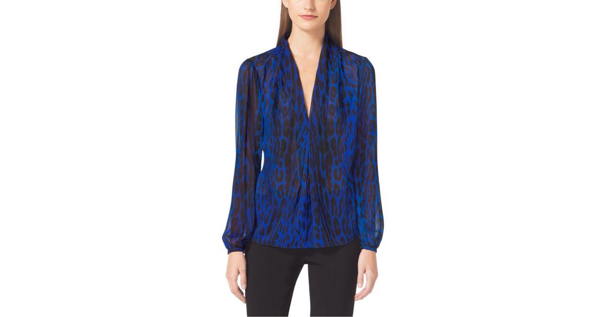 79e661ca75f3 Michael Kors Animal-print V-neck Blouse in Blue - Lyst