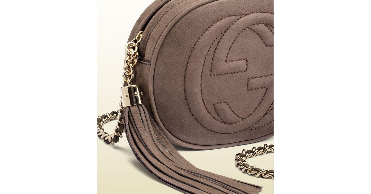 7bce943f9 Gucci Soho Nubuck Leather Mini Chain Bag in Gray - Lyst