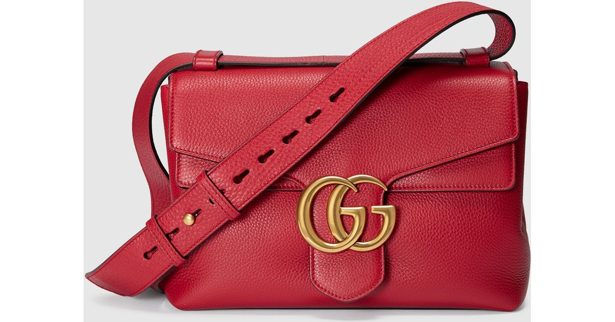 2fad0d093 Gucci Gg Marmont Leather Shoulder Bag in Red - Lyst