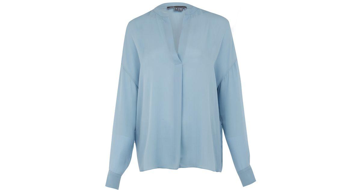 58dee00b05a0b Lyst - Vince Light Blue Silk Blouse in Blue