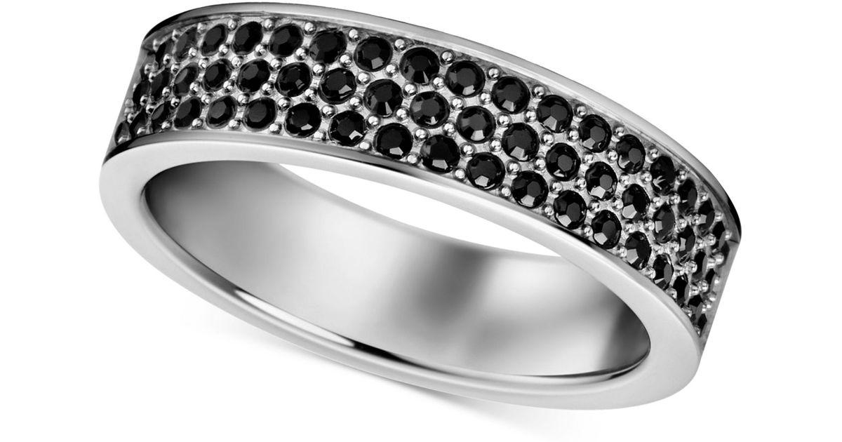 51a7ca145 Lyst Calvin Klein Stainless Steel Black Swarovski Crystal Ring In
