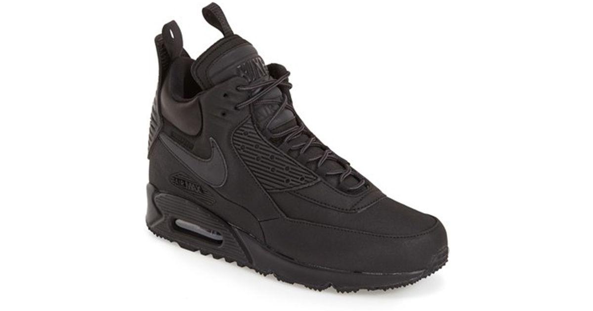 Nike Air Max 90 Winter Sneaker Boots In Black For Men