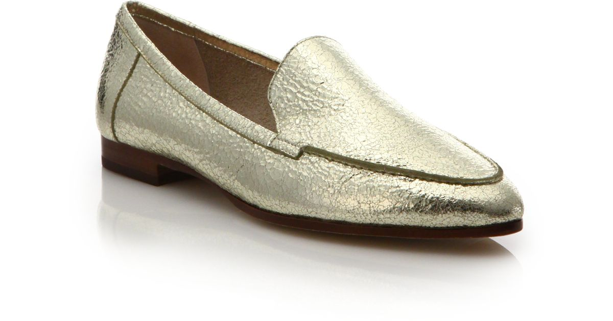 916c5875a3b Lyst - Kate Spade Carima Crackled Metallic Leather Loafers in Metallic