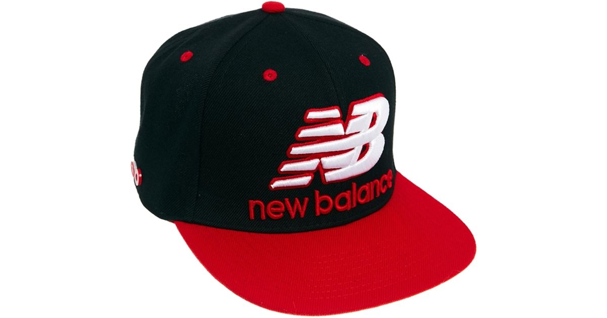 Lyst - New Balance Courtside Snapback Cap in Black in Red 152e9cbfe1d