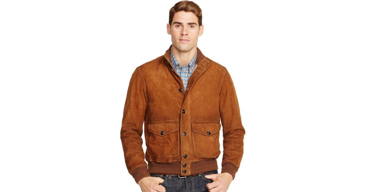 lyst polo ralph lauren suede skeet jacket in brown for men. Black Bedroom Furniture Sets. Home Design Ideas