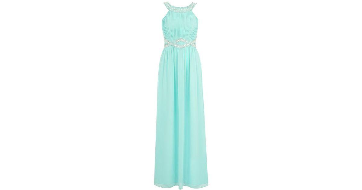 Aqua chiffon embellished maxi dress