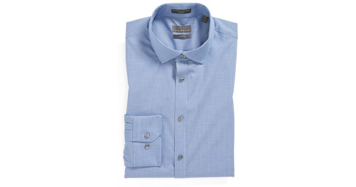 Calibrate extra trim fit non iron microcheck dress shirt for Extra trim fit dress shirt