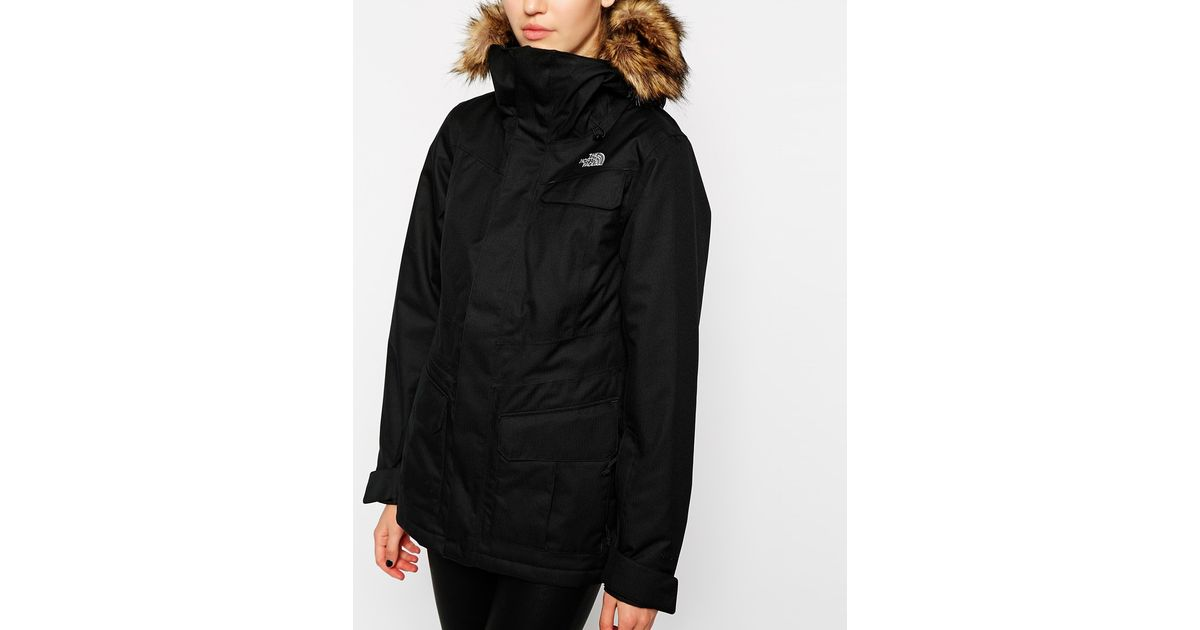 880cc704a898 ... Lyst - The North Face Mountain Coat With Faux Fur Trimmed Ho ...