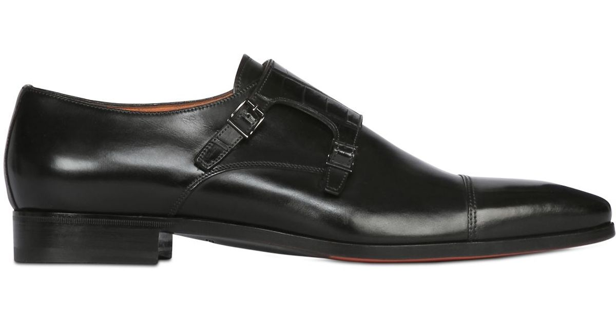 445177bb3ac9 Lyst - Santoni Crocodile   Leather Monk Strap Shoes in Black for Men