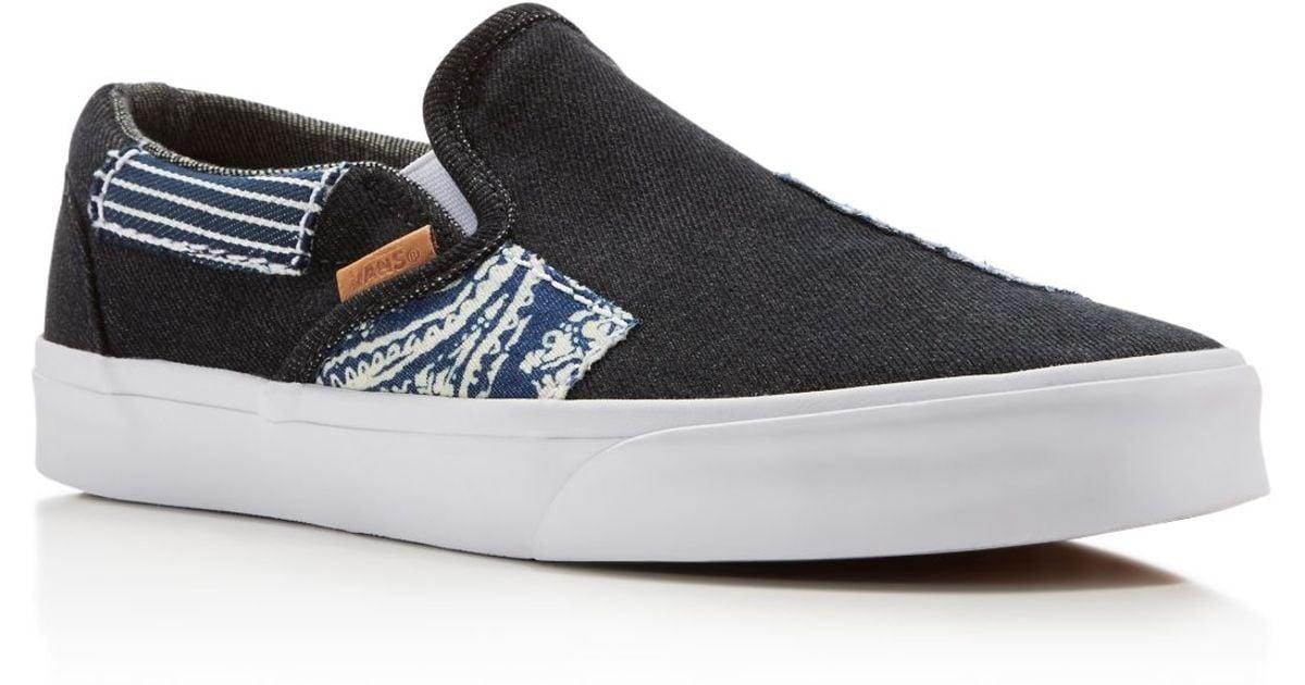24327215ebfe14 Lyst - Vans Classic Ca Denim Patchwork Slip On Sneakers in Blue for Men
