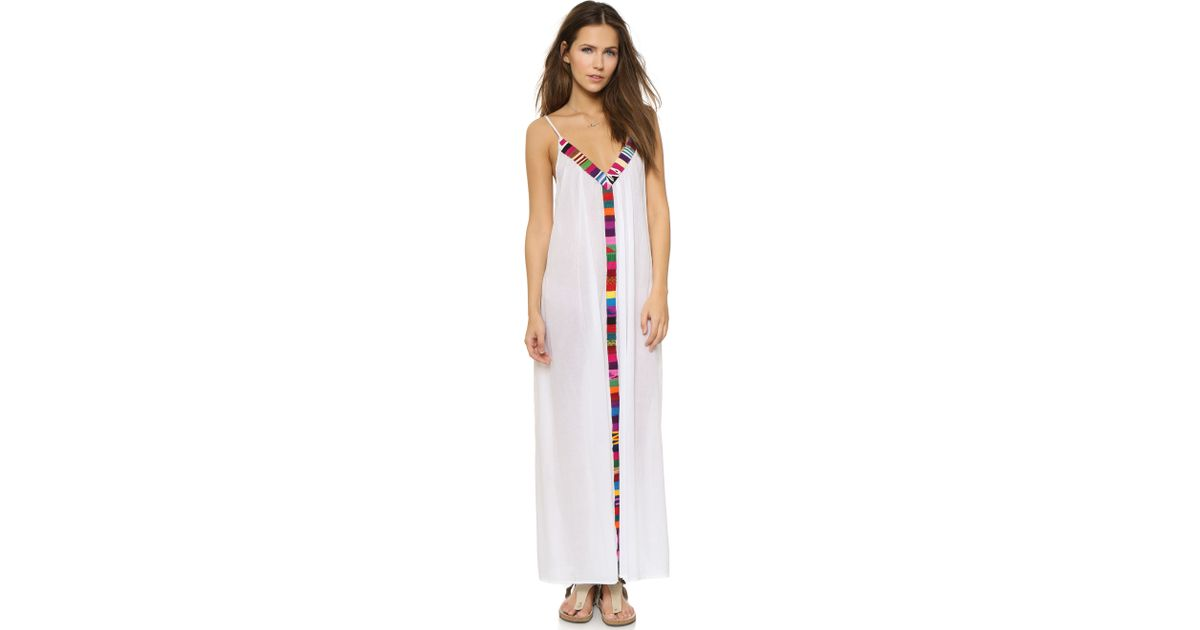 5630ef1fbe Lyst - 9seed Portofino Trim Cover Up Dress - Caribe in White