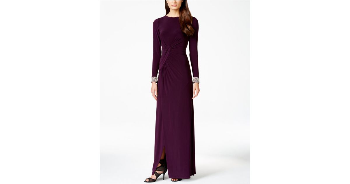 a4928b9186aff Lyst - Vince Camuto Long-sleeve Embellished Faux-wrap Gown in Purple