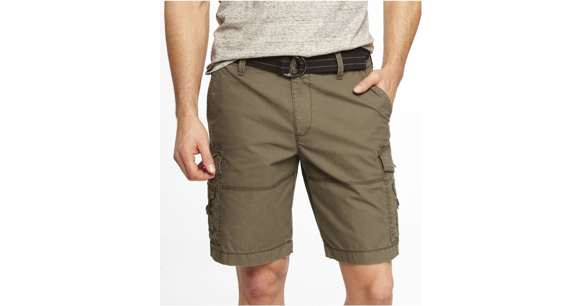 1261cee56a Express 10 Inch Belted Cargo Shorts in Green for Men - Lyst