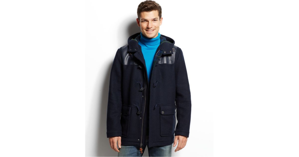 tommy hilfiger darrel duffle coat in blue for men lyst. Black Bedroom Furniture Sets. Home Design Ideas