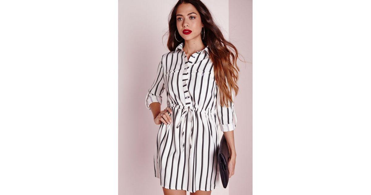 784ee542ac04 Lyst - Missguided Drawstring Waist Shirt Dress White Stripe in Black