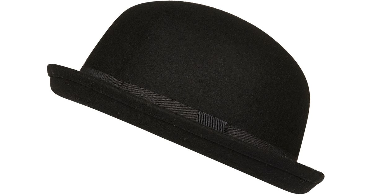 River Island Black Bowler Hat in Black for Men - Lyst 2fcd4df9e45