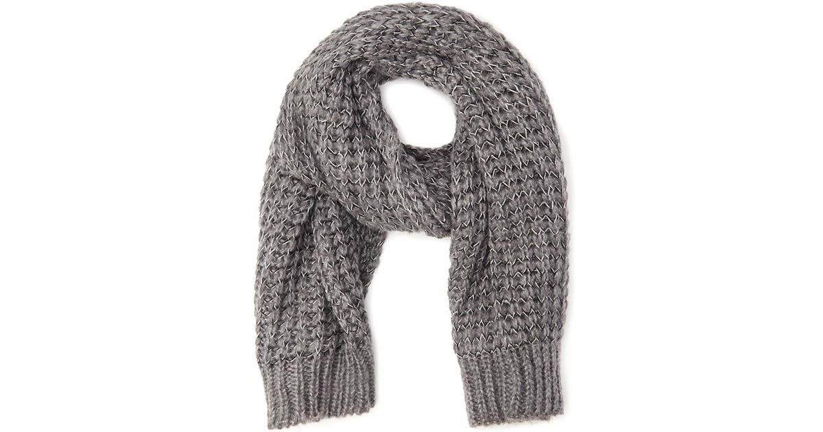 Forever 21 Loose Knit Oblong Scarf in Gray (Grey/black) Lyst