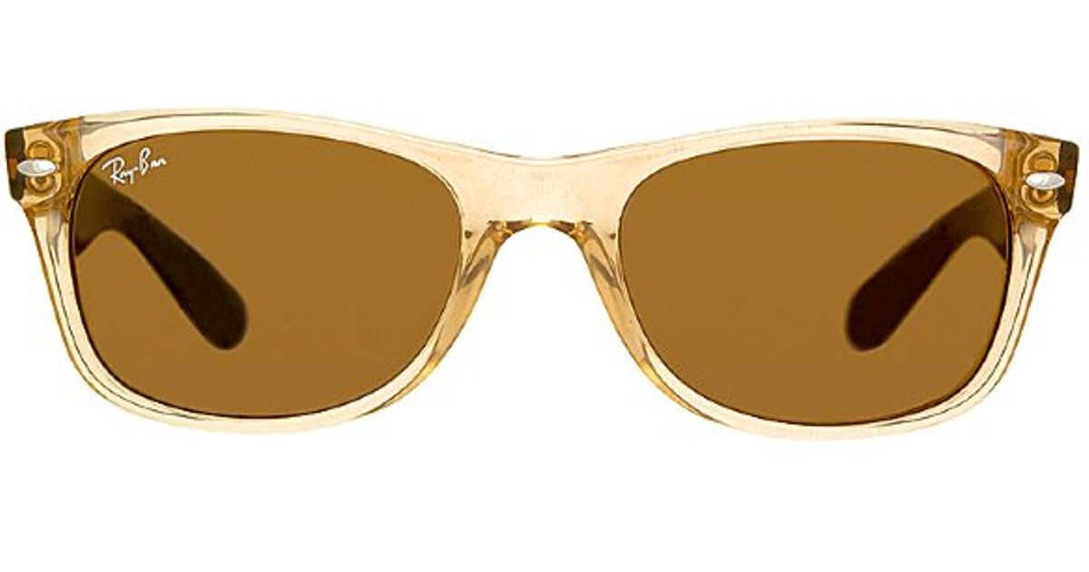 d12f590110a Ray-Ban Ray Ban Rb2132 New Wayfarer 945L Honey And Black Plastic Sunglasses  in Natural - Lyst