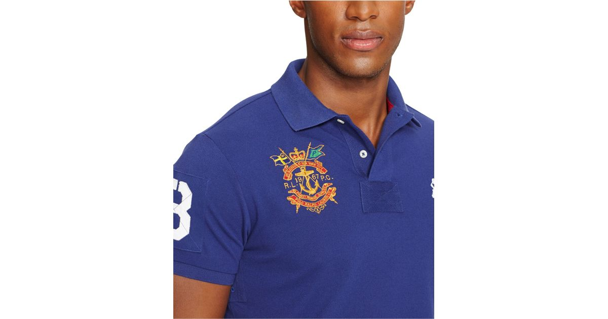 Polo ralph lauren Custom-Fit Big Pony Mesh Polo Shirt in Blue for Men | Lyst