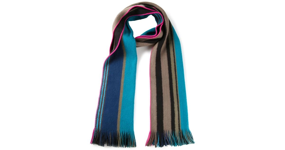 Paul Smith - Multicolor Knit Reversible Scarf for Men - Lyst