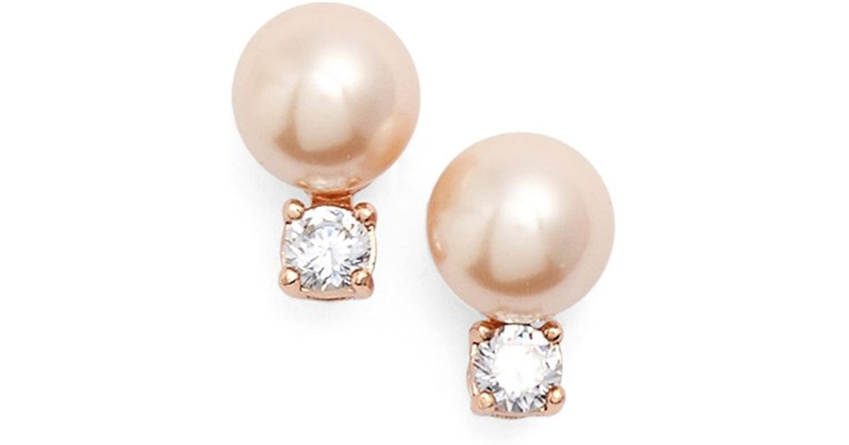 c8f10b5db Lyst Kate Spade Pearls Of Wisdom Faux Pearl Stud Earrings In Brown. Kate  Spade New York Rose Gold Tone ...