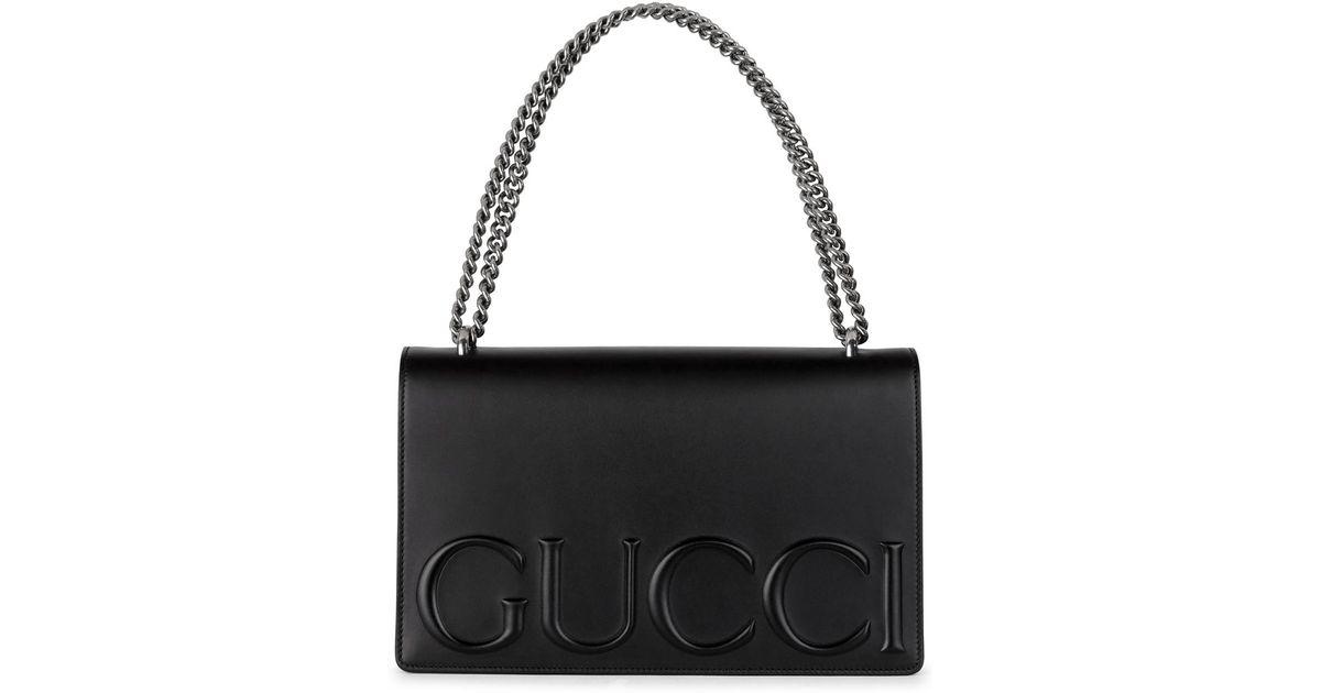 c40689288c2 Gucci Xl Black Embossed Leather Shoulder Bag in Black - Lyst