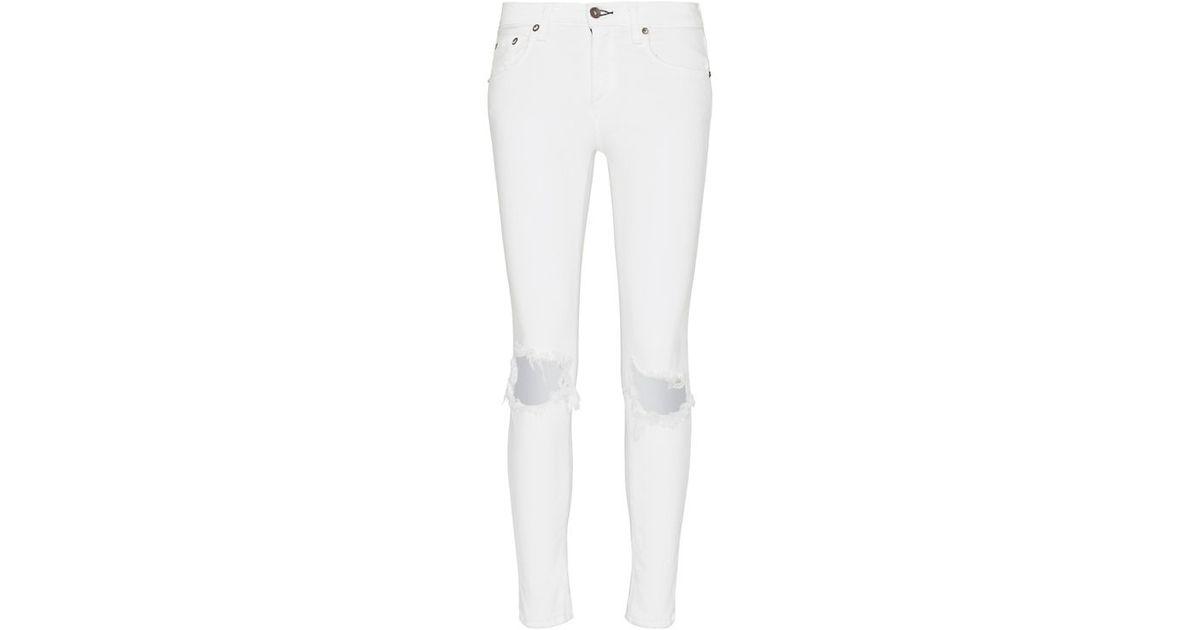 cf31a399c83 Rag & Bone /jean Rip Capri: White in White - Lyst