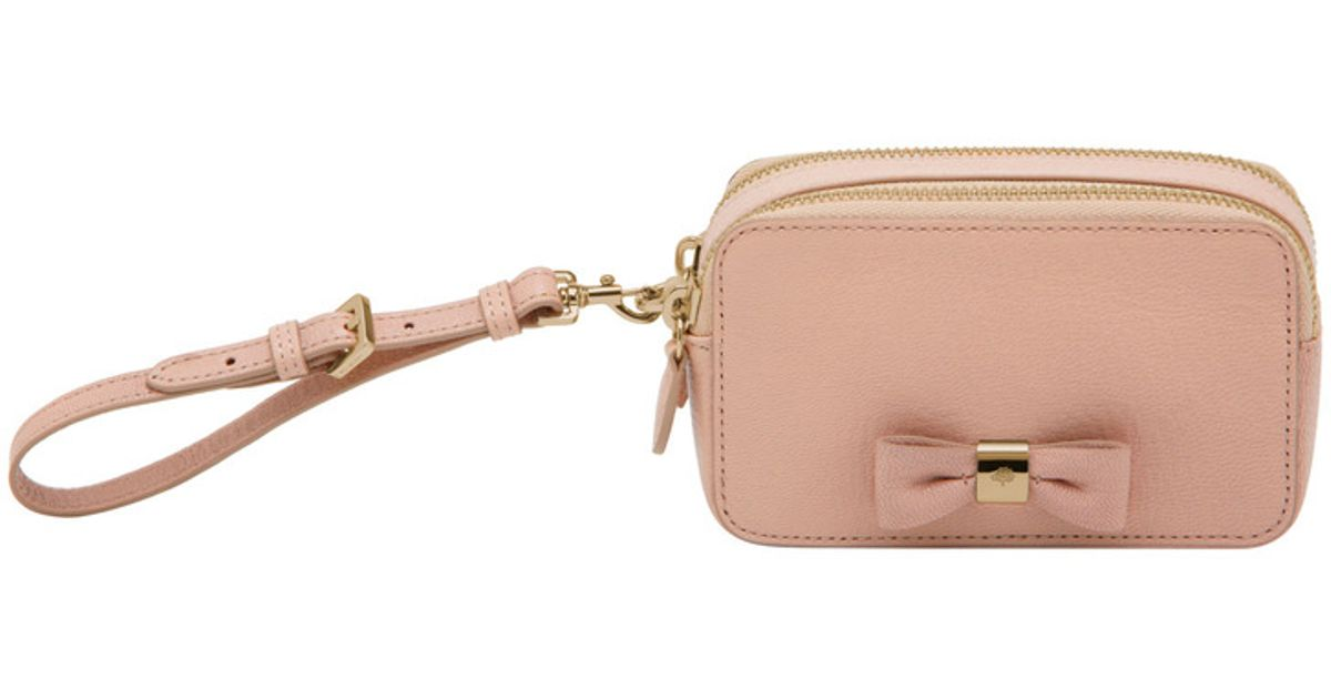 0206a98ad1b7 Lyst - Mulberry Bow Wristlet Pouch in Pink