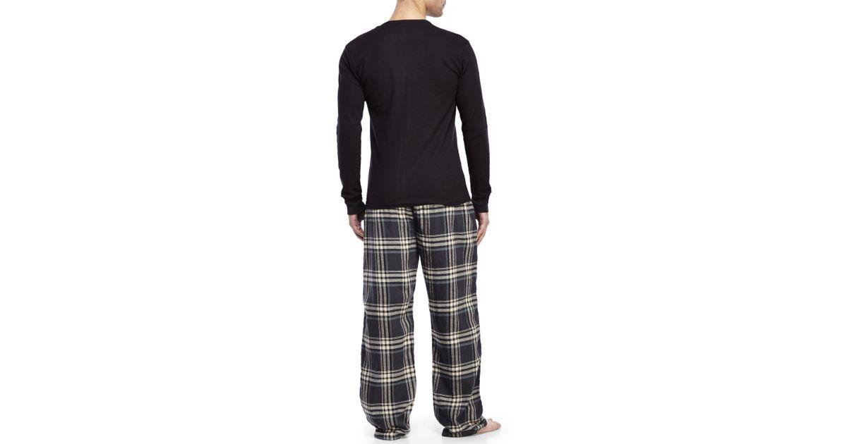 e2ec2eedb2 Lyst - U.S. POLO ASSN. Black Thermal Top   Flannel Pajama Set in Black for  Men