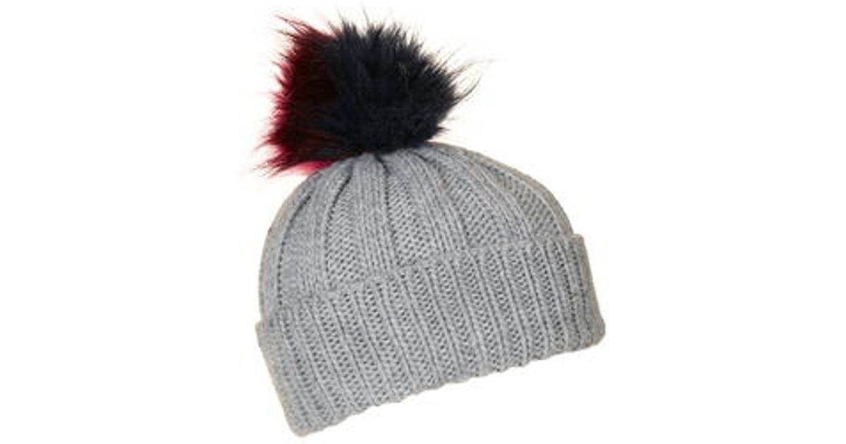 873be9df042 TOPSHOP Multi-coloured Pom Beanie Hat in Gray - Lyst