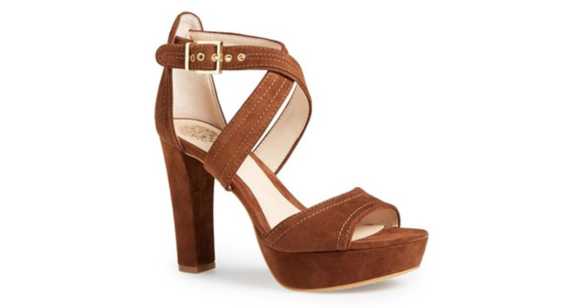 7848eff726d Lyst - Vince Camuto Shayla Suede Sandals in Brown
