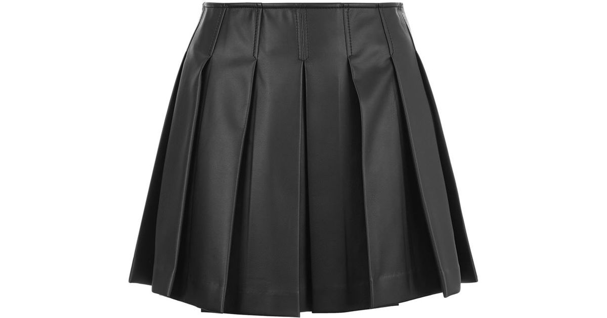 2396a54c27a1 Armani Jeans Faux Leather Pleated Mini Skirt in Black - Lyst