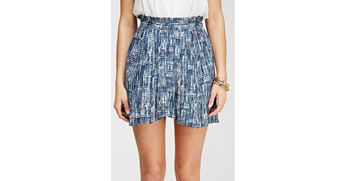 dd89c1530 Lyst - Forever 21 Contemporary Abstract Print Pleated Skirt in Blue