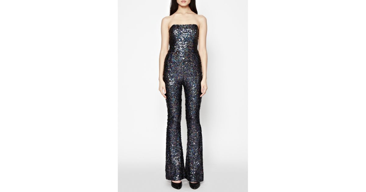 8c004a9452f French Connection Lunar Sparkle Sequin Jumpsuit in Gray - Lyst