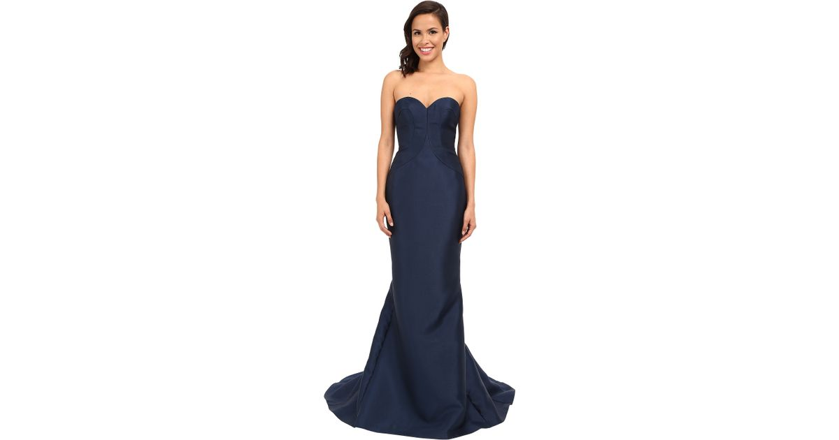 1554f327da699 Faviana Strapless Sweetheart Satin Fit & Flare Gown W/ Panel Detailing 7753  in Blue - Lyst