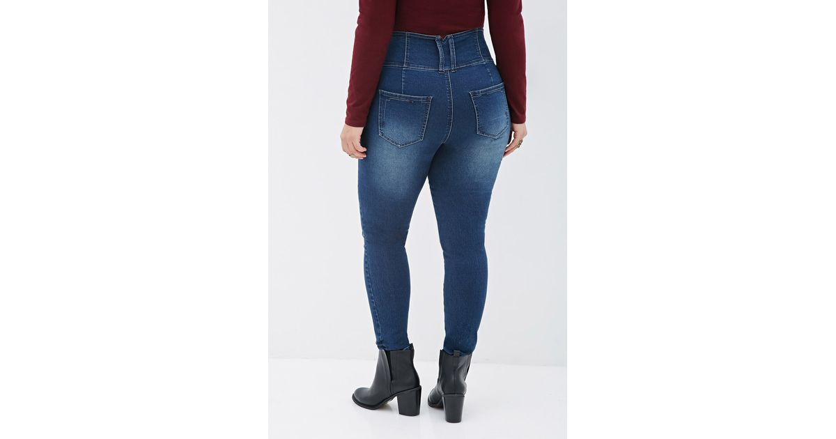 Forever 21 Plus Size Faded High-waist Jeans in Blue | Lyst