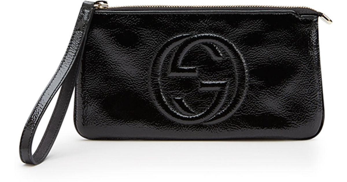 5f7698df3 Gucci Soho Soft Patent Leather Wristlet in Black - Lyst