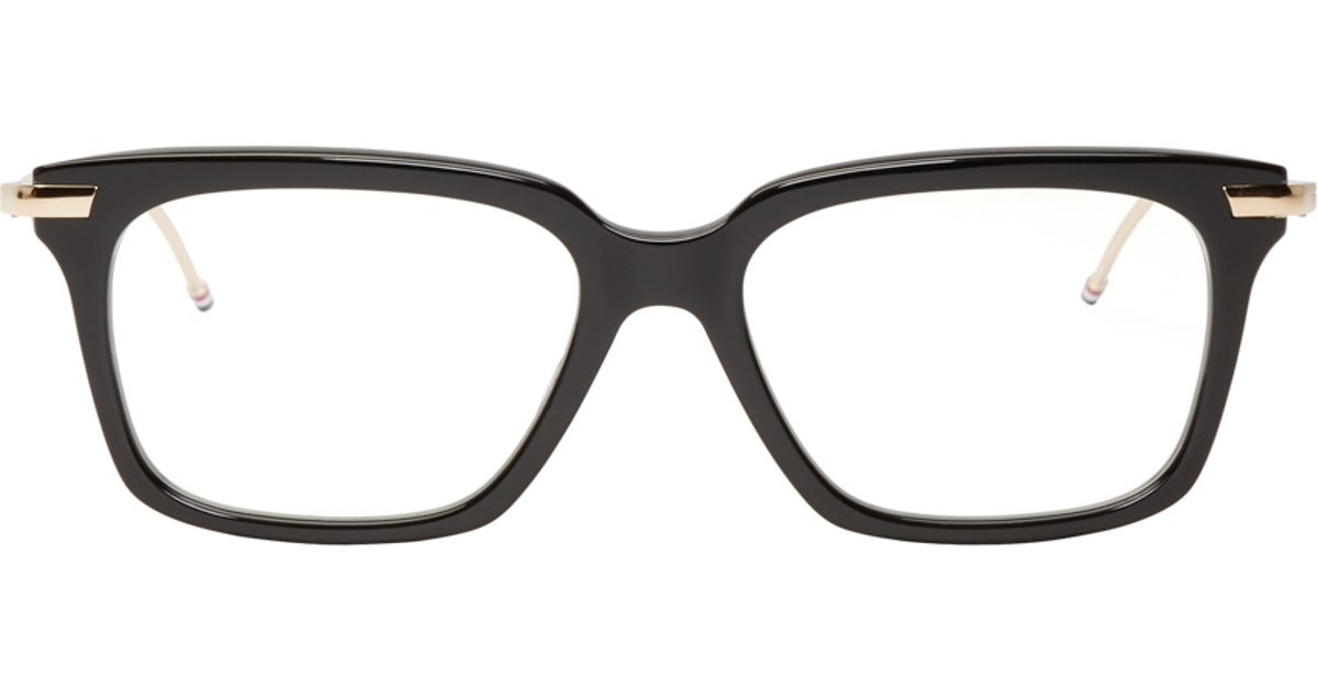 Black And Gold Eyeglass Frames : Thom browne Black And Gold Optical Glasses in Black for ...