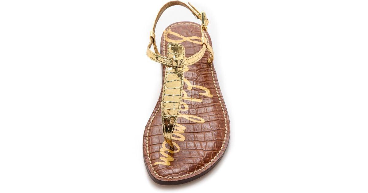 41055a2bf07b7 Lyst - Sam Edelman Gigi T Strap Flat Sandals - Gold in Metallic