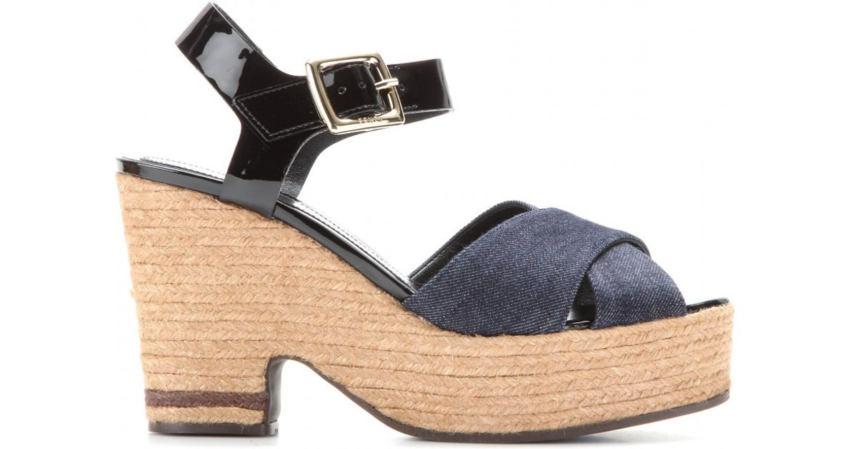 ce823e0c2afef Lyst - Fendi Denim and Patentleather Espadrille Platform Sandals in Blue