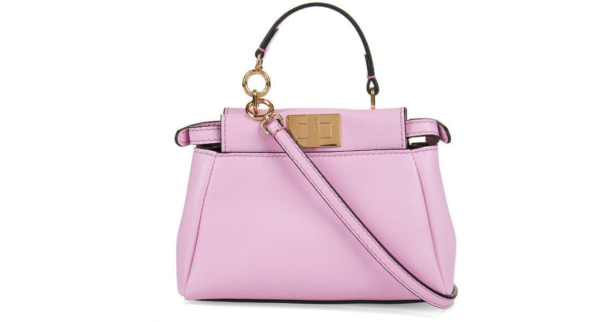 755a8e50a79 Lyst - Fendi Micro Peekaboo Leather Cross-Body Bag in Pink
