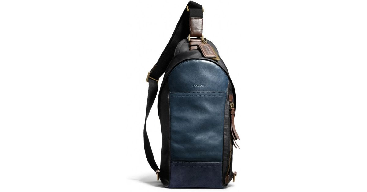 b0f8f7cb1f59 ... shoulder bag ef42f 0c123 coupon code for lyst coach bleecker convertible  sling pack in colorblock leather in blue for men ...