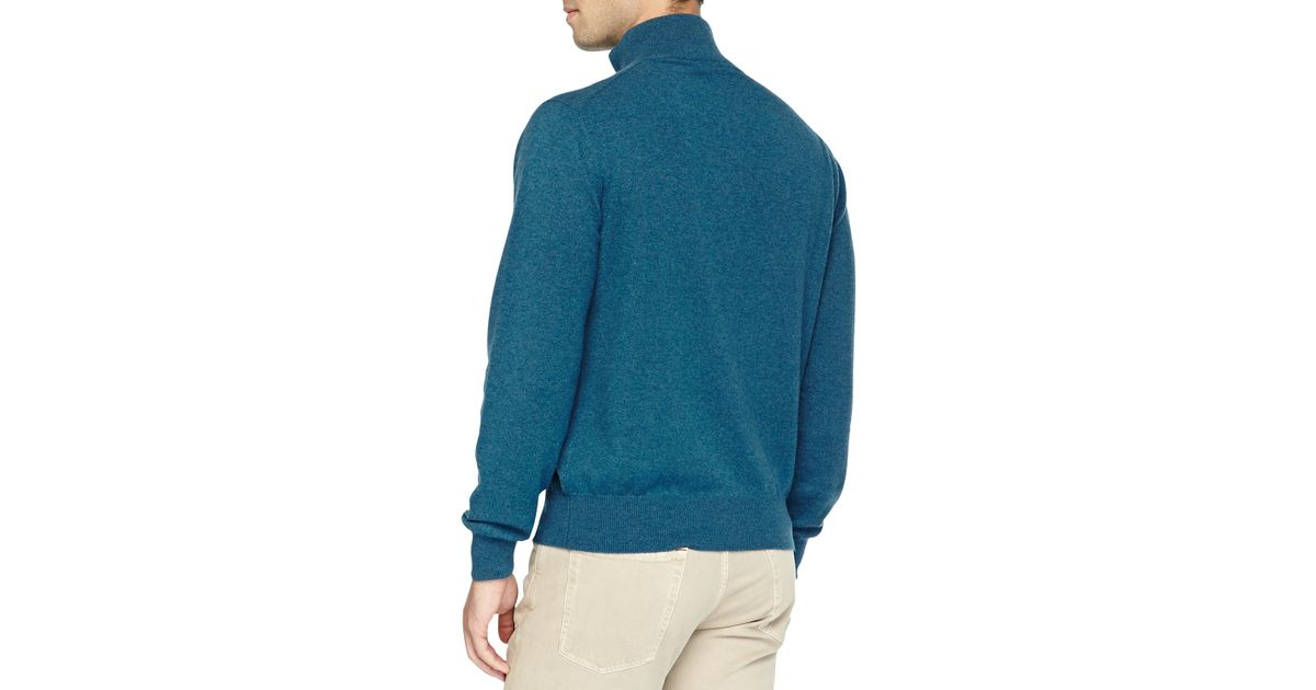 45bc73d5d513 Lyst - Loro Piana Baby Cashmere Half-Zip Sweater in Blue for Men