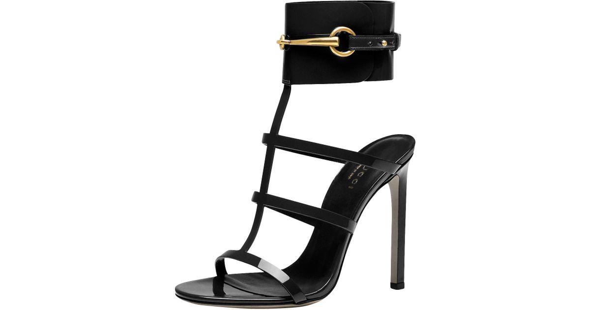 d608a3693f1 Gucci Ursula Patent Anklewrap Cage Sandal in Black - Lyst
