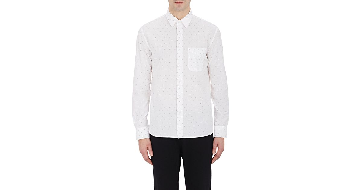 barneys new york dobby weave shirt in white for men lyst