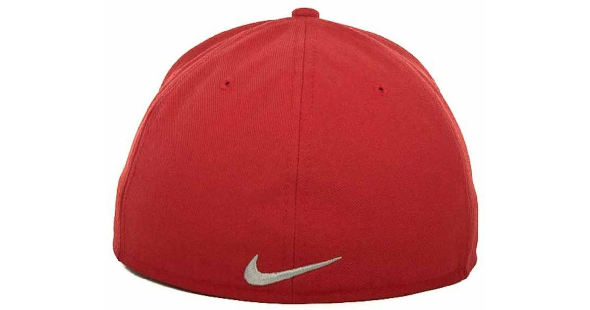 finest selection 6912a eb3b1 ... performance true fitted hat 483d8 21236  low price lyst nike ohio state  buckeyes ncaa team sports authentic fitted cap in red for