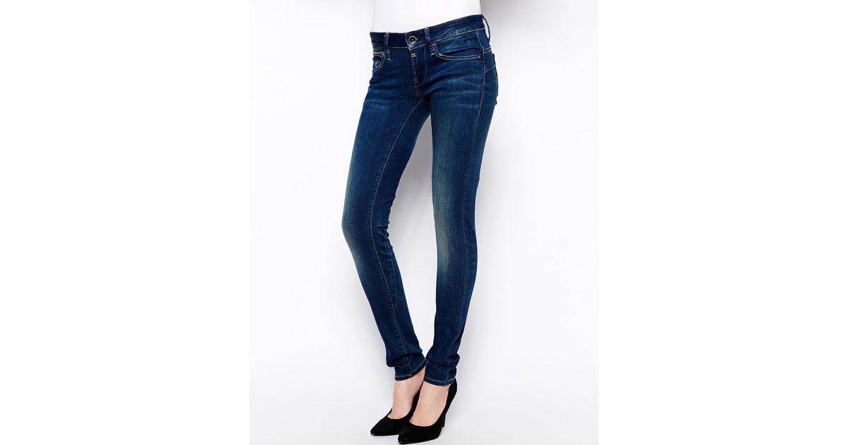g star raw midge sculpted low waist skinny jeans in blue. Black Bedroom Furniture Sets. Home Design Ideas