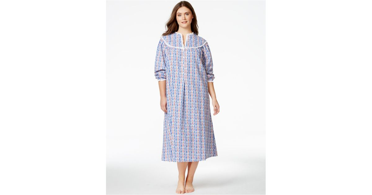 Lyst - Lanz Of Salzburg Plus Size Long Flannel Nightgown in Blue